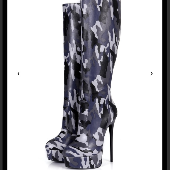 on feet shots of ever popular sale uk Giaro camo stiletto knee PU boots nwt -$firm